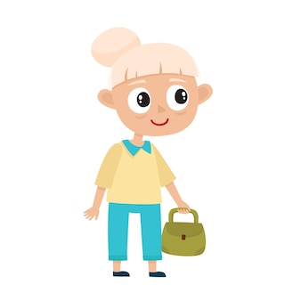 白で隔離のバッグを持つかわいい老婆の肖像画、白髪のスタイリッシュな服を着た幸せなおばあちゃんのイラスト。散歩中のおばあさん。