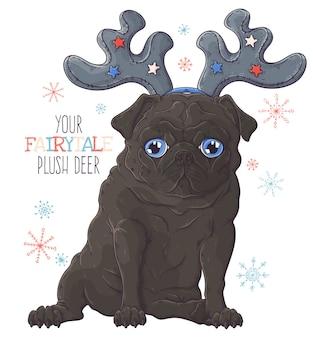 장식용 사슴 뿔에 귀여운 퍼그 강아지의 초상화