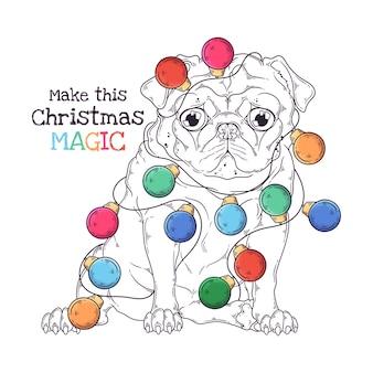 Портрет милой мопса с рождественской гирляндой