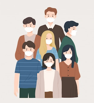 ウイルス保護のためにフェイスマスクを身に着けているさまざまな人々の肖像画。健康的な生活様式。コロナウイルスの発生の概念。