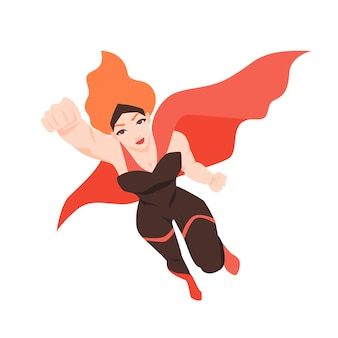 비행 슈퍼 우먼 또는 슈퍼 히어로의 초상화