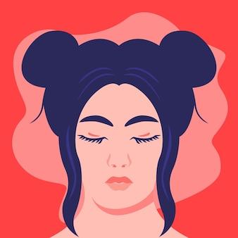 Портрет девушки плоской иллюстрации