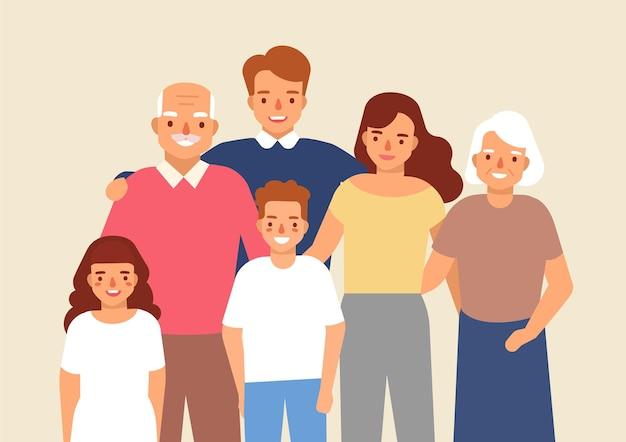 할아버지, 할머니, 아버지, 어머니, 어린 소녀, 소년이 함께 서 있는 행복한 가족의 초상화. 귀여운 재미 웃는 만화 캐릭터. 평면 스타일의 다채로운 벡터 일러스트입니다.