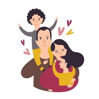 행복한 사랑하는 가족의 초상화입니다. 웃고 있는 아빠, 엄마, 그리고 두 아들. 즐거운 아버지, 어머니, 그리고 한 쌍의 아이. 부모와 자녀. 사랑스러운 만화 캐릭터. 평면 스타일의 다채로운 벡터 일러스트입니다.