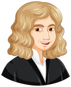 만화 스타일의 아이작 뉴턴의 초상화