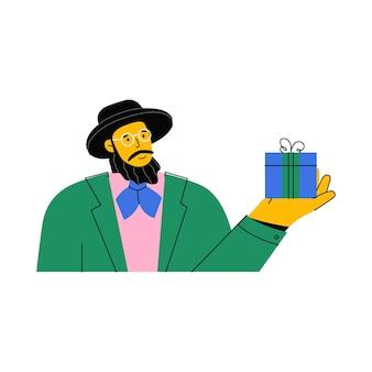 Портрет еврея с бородой в шляпе и очках, дающих подарок
