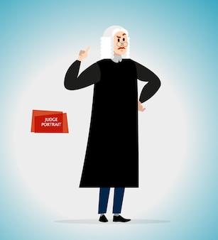 制服を着た裁判官の肖像画。スタイル。