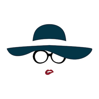 Portrait of lady in graceful hat and glasses bites her lip.