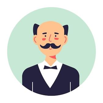口ひげを持つ男性キャラクターの肖像画、中年の男性と孤立したサークルバナー。蝶ネクタイ付きの公式スーツを着た執事労働者。思考のしわのある人物、フラットのブルネットのベクトル