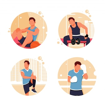 Портрет мужской деятельности плоский дизайн иллюстрация
