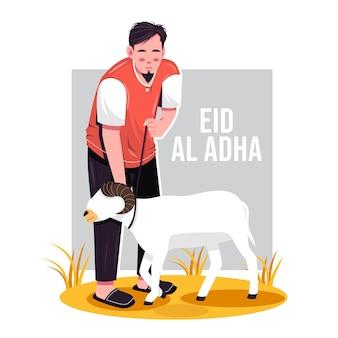 Eid al adha 그림에 대한 남자와 염소의 초상화