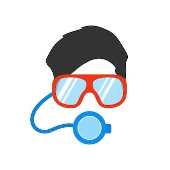 수중 수영을 위한 마스크와 안경을 쓴 남자의 초상화