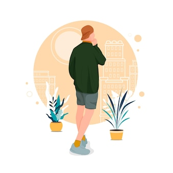 Портрет мужчины, позирующего в стильных нарядах, плоский дизайн концепции иллюстрации eps 10