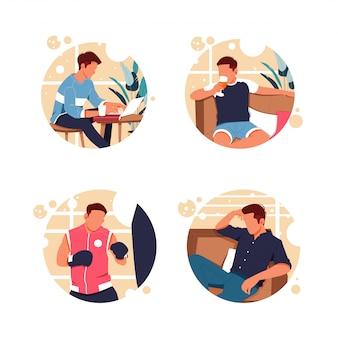 Портрет мужской активности, плоский дизайн иллюстрации