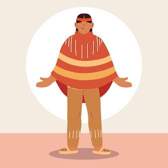 伝統的なドレスを着たネイティブの男の肖像。