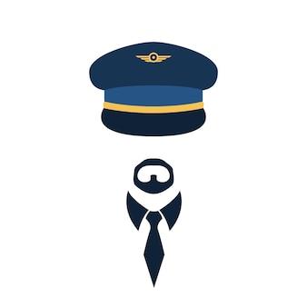 キャップとネクタイのパイロットの肖像画。ベクトルイラスト。