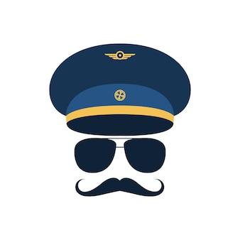 キャップとメガネの口ひげを持つパイロットの肖像画