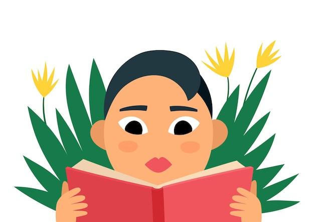 かなりふっくらとした女性の読書の肖像画、スタイリッシュな女性と白で隔離の本と漫画のベクトルイラスト。雑誌、本、ステッカー、ポスターに使用される本を読んでいるボディポジティブな女性。