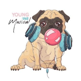 . 뮤지컬 헤드폰에 퍼그 강아지의 초상화는 껌의 거품을 팽창시킵니다.