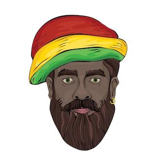 Rastaman의 초상화. rastaman 모자를 쓴 흑인의 얼굴. 그림, 흰색.