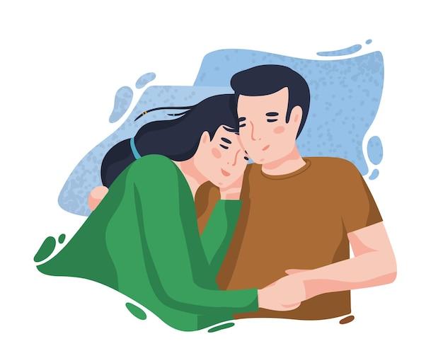 Портрет романтической пары против синего пятна на фоне