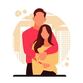 Портрет романтической пары на день святого валентина