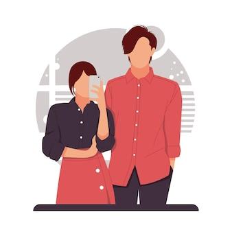 バレンタインデーのためのロマンチックなカップルの自分撮りの肖像画。フラットなデザインコンセプト。図