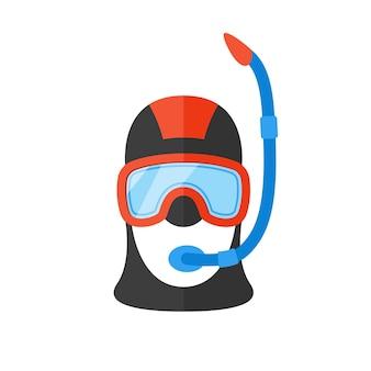 호흡 튜브가 있는 밝은 정장을 입은 스쿠버 다이버의 초상화