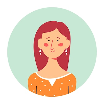 Портрет застенчивой девушки, изолированной фотографии в круге. девушка с румянцем на щеках в стильных серьгах. скромный женский персонаж с рыжими волосами и модной одеждой, вектор в плоском стиле