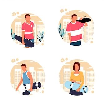 スケーターキャラクター、フラットなデザインイラストの肖像画