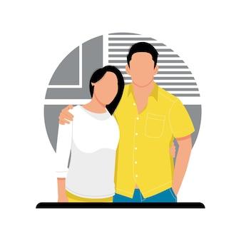 Портрет сладкой пары характер иллюстрации