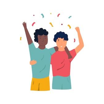 승리를 축하하는 두 명의 흥분된 행복한 축구 선수의 초상화.