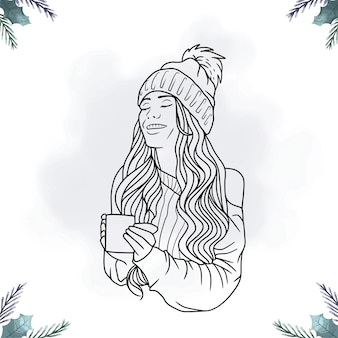 라인 아트 스타일로 커피를 마시는 여성의 초상화