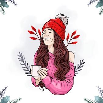 다채로운 커피를 마시는 여자의 초상화