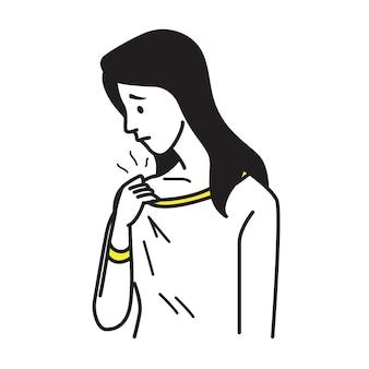 Tシャツを保持している女性の肖像画、何か臭いを嗅ぐ、自分を嗅ぐ