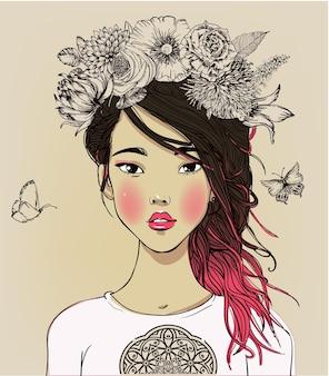 Портрет молодой красивой азиатской женщины с цветами