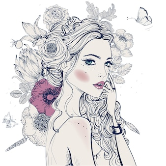 Портрет молодой красивой женщины с цветами