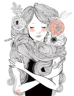 꽃과 긴 머리를 가진 젊은 아름 다운 여자의 초상화