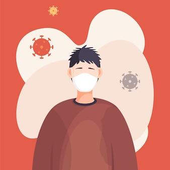 呼吸マスクの若い男の肖像画
