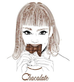 彼女の手にチョコレートを持つ若い女性の肖像画