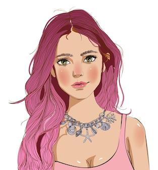 長いピンクの髪の若い女性の肖像画