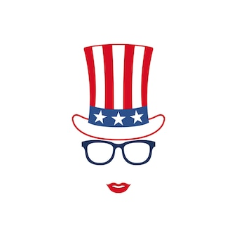 Portrait of patriotic girl in glasses and hat of uncle sam