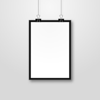 Portrait picture frame isolated design. photo image frame background on wall.