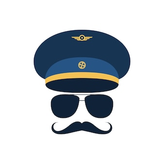 Portrait of pilot with mustache in cap and glasses