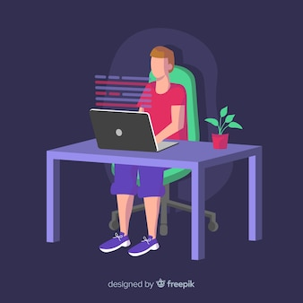 Portrait of programmer working with pc