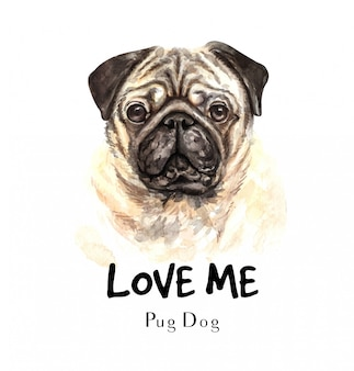 Portrait pug dog for printing