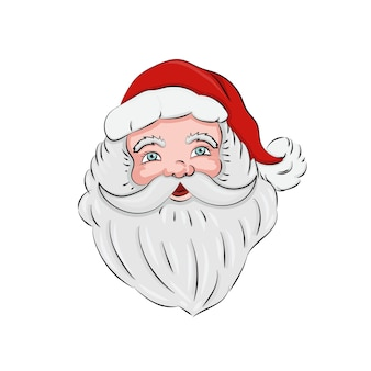Portrait of santa claus with beard and hat isolated on white background