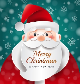 Portrait of santa claus with an inscription on his beard. merry christmas new year greetings.