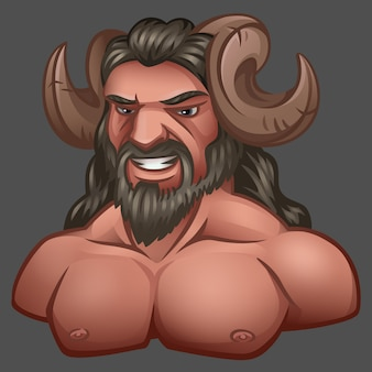 Portrait of satyr with horns