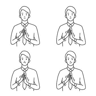 Портретный набор бизнесмена, жестикулирующего в потирании рук